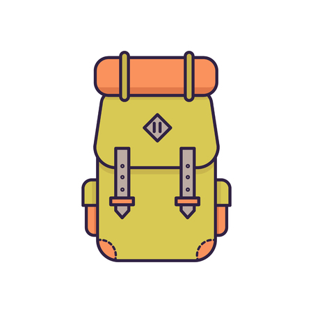 sleeping bags: Backpack line icon. Flat color vector illustration. Illustration
