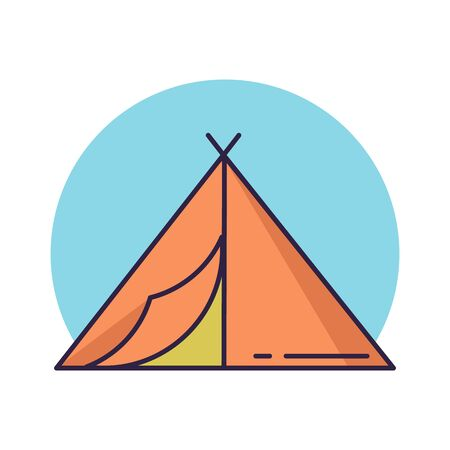 Camping tent line icon. Flat color vector illustration. Illustration