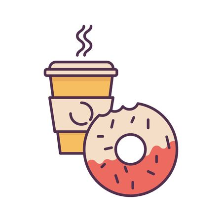 Koffie en donut. Fast food egale kleur vectorillustratie.