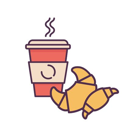 Coffee and croissant. Fast food flat color vector illustration.