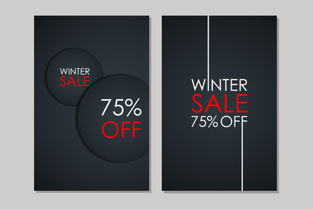 Winter Sale banners. Special offer, discount up to 75% off. Banners for business, promotion and advertising. Vector illustration. Illustration