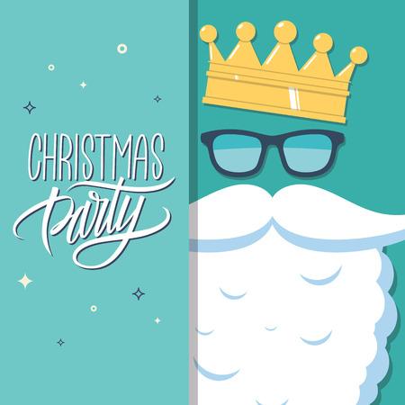 corona navidad: tarjeta de invitación de la fiesta de Navidad con elemento escrita a mano. Santa Claus con gafas de sol y la corona. Ilustración del vector.