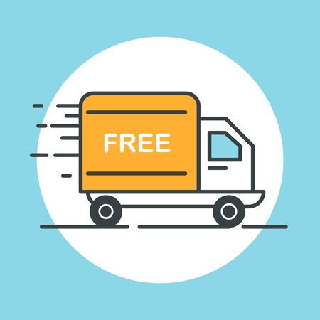 delivery icon: Free delivery truck icon. Flat design vector illustration. Illustration