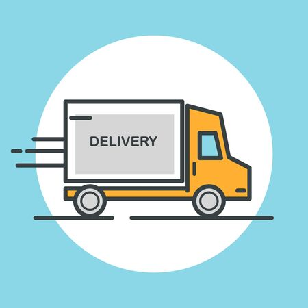 delivery icon: Delivery truck icon. Flat design vector illustration.