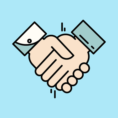 Partnership or Handshake icon. Teamwork and friendship. Business concept. Flat design vector illustration.