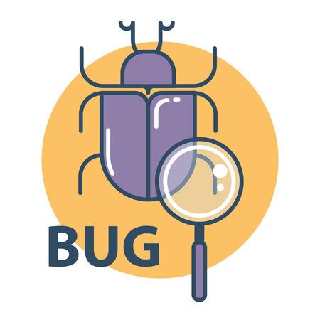 Software bug searching icon. Program error concept. Flat design vector illustration. Illustration