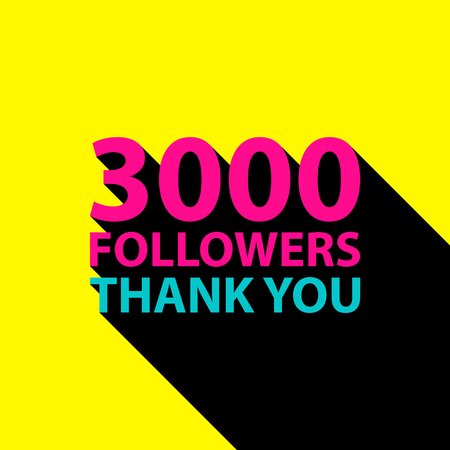 subscriber: 3000 followers, Thank You card template for social networks, promotion and advertising. Vector Illustration.