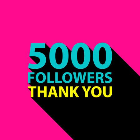 5000 volgers, dank u kaarden sjabloon voor sociale netwerken, promotie en reclame. Vector Illustratie. Stock Illustratie