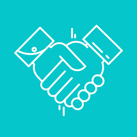 equal opportunity: Partnership or Handshake line icon. Teamwork and friendship. Business concept. Flat vector illustration. Flat design vector illustration. Illustration