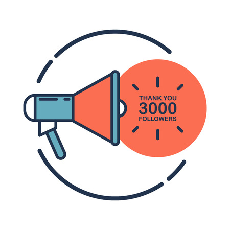 3000 followers, Thank You card template with megaphone for social networks, promotion and advertising. Flat design vector illustration.