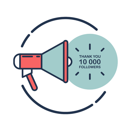 horn like: 10000 followers, Thank You card template with megaphone for social networks, promotion and advertising. Flat design vector illustration.