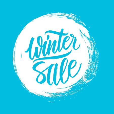 Winter Sale. Special offer banner with handwritten text design and circle brush stroke background for business, promotion and advertising. Vector illustration. Illustration