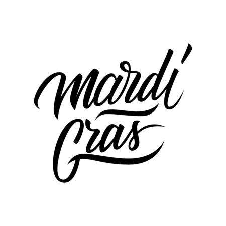 holiday invitation: Mardi Gras calligraphic lettering text design. Creative typography for holiday greetings and invitation. Vector illustration.