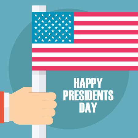 greating card: Happy Presidents Day greating card with American flag. Flat design vector illustration. Illustration