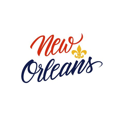 Handwritten city name New Orleans with Fleur De Lis symbol. Vector illustration. Illustration