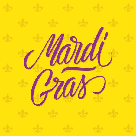 fleur of lis: Mardi Gras calligraphic lettering design card template. Creative typography for holiday greetings. Vector illustration. Illustration
