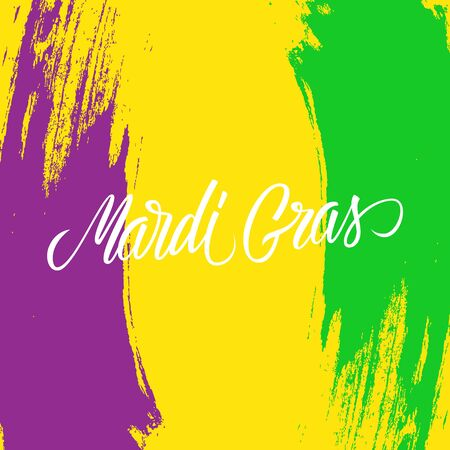 Mardi Gras calligraphic lettering design card template with brush stroke background. Creative typography for holiday greetings and invitations. Vector illustration. Illustration