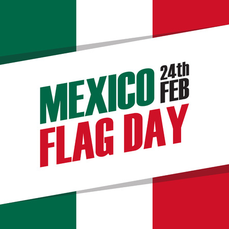 american history: Mexico Flag Day holiday banner. 24th feb. Vector Illustration.