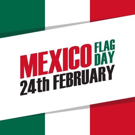 american history: Mexico Flag Day holiday banner. 24th february. Vector Illustration. Illustration