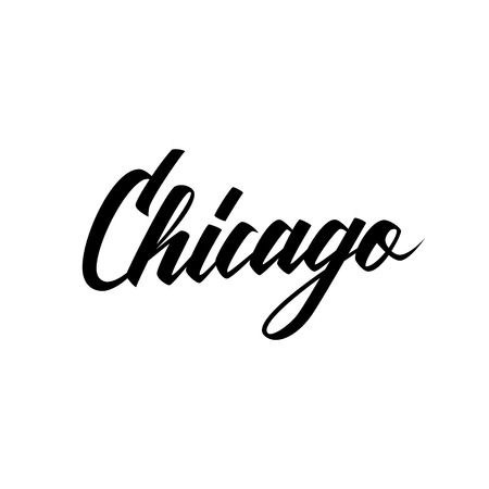 Handwritten city name Chicago. Illustration