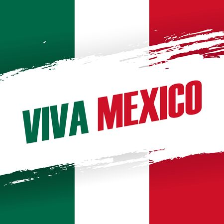 Viva Mexico holiday banner with brush stroke.