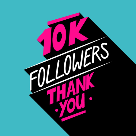 10K followers, Thank You card template with hand drawn elements for social networks, promotion and advertising. Vector Illustration. Reklamní fotografie - 71671424