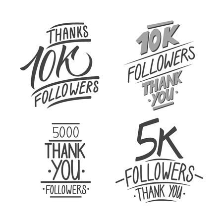 followers: Set of thank you followers hand drawn card templates for social networks, promotion and advertising. Vector Illustration.