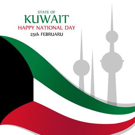 national: Estado de la tarjeta de felicitación del día Nacional de Kuwait feliz. Ilustración del vector. Vectores