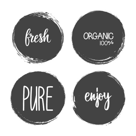 Handwritten words Fresh, Organic, Pure, Enjoy with circle brush stroke backgrounds. Vector illustration. Illustration
