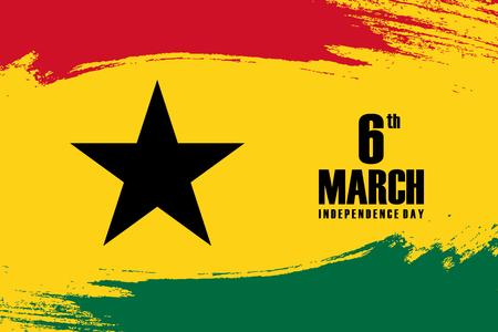 Onafhankelijkheidsdag van Ghana 6 maart wenskaart met penseelstreek achtergrond. Vector illustratie.