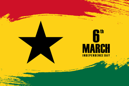 Independence Day of Ghana 6th march greeting card with brush stroke background. Vector illustration.