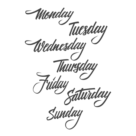 ollection: ollection of handwritten days of the week. Calligraphic elements for your design. Vector illustration.
