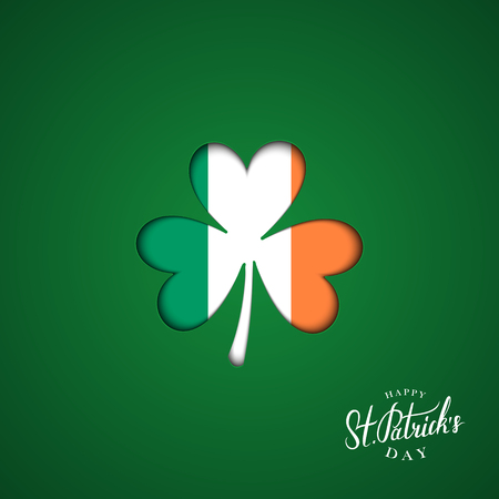 Happy Saint Patricks Day greeting card with clover sign in colors of the irish national flag. Vector illustration.