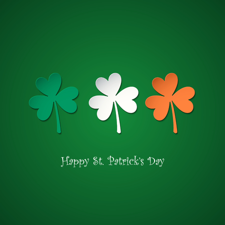 cloverleaf: Happy Saint Patricks Day greeting card with lucky clovers in colors of the irish national flag. Vector illustration. Illustration