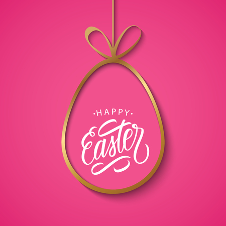 golden egg: Happy Easter greeting card with golden easter egg and handwritten wishes on pink background. Vector illustration. Illustration