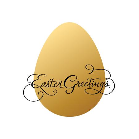 Easter greetings with golden egg. Vector illustration.