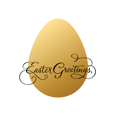 golden egg: Easter greetings with golden egg. Vector illustration.