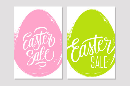 Set of Easter Sale flyers with handwritten elements and brush stroke egg shape background for business, promotion and advertising. Vector illustration.