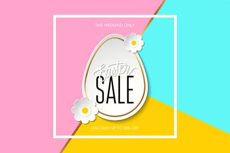 Easter Sale this weekend only special offer banner wit easter egg, flowers and handwritten text design Illustration