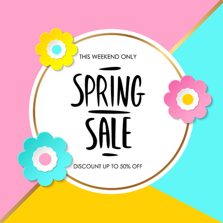 Spring Sale special offer sign with handwritten text design and color flowers for business, promotion and advertising. Vector illustration. Illustration