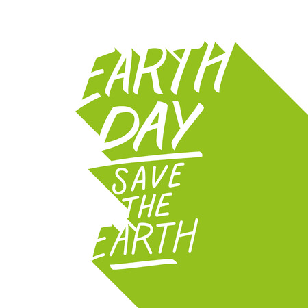 Earth Day holiday handwritten text design with long shadow. Save the Earth. Vector illustration.