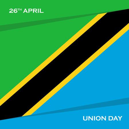 Tanzania Union Day, 26 april greeting card. Vector illustration.