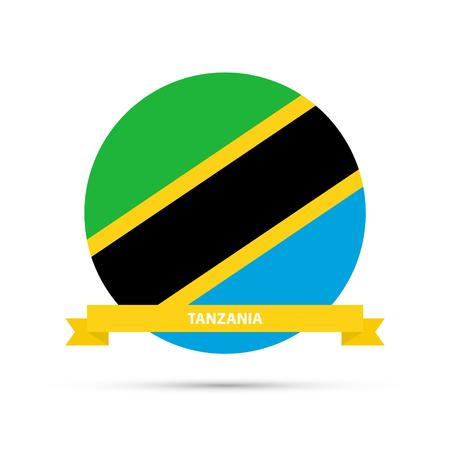 National flag of Tanzania round emblem. Vector illustration. Illustration