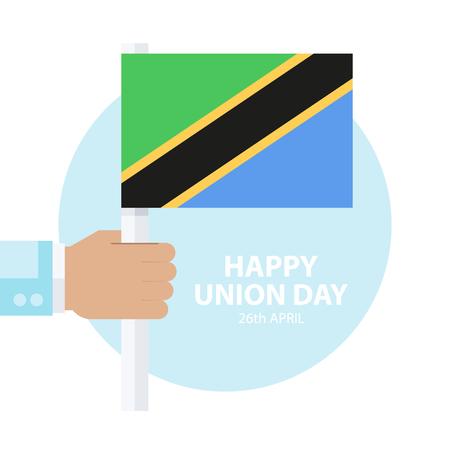 Tanzania Union Day, 26 april celebration card with hand holding tanzanian flag. Flat design vector illustration.