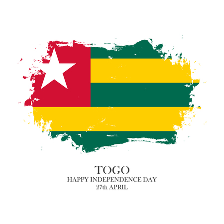 Togo Independence Day, 27 april greeting card with brush stroke pattern in Togo national flag colors. Vector illustration. Çizim