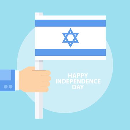 Carta felice di celebrazione di Israel Independence Day con la bandiera della tenuta della mano di Israele. Illustrazione vettoriale di design piatto.