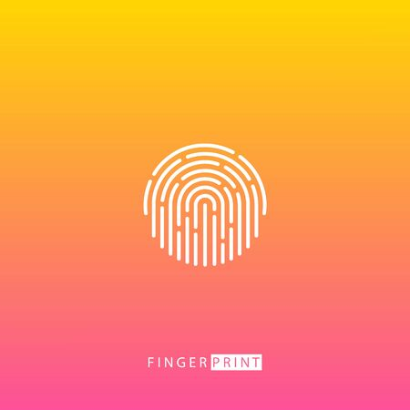 Fingerprint touch ID white icon on blurred background. Vector illustration.