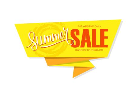 Summer Sale special offer banner with hand lettering. This weekend only, discount up to 50% off. Banner for business, promotion and advertising. Vector illustration. Illustration