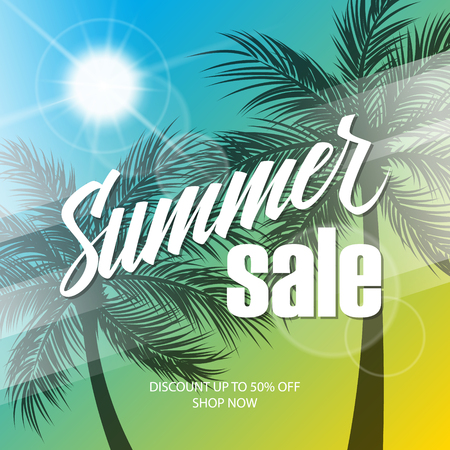 buy now: Summer Sale background with hand lettering and palm trees for business, promotion and advertising. Vector illustration.