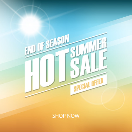 Hot Summer Sale banner. End of season special offer. Banner for business, promotion and advertising. Blurred background. Vector illustration. Illustration